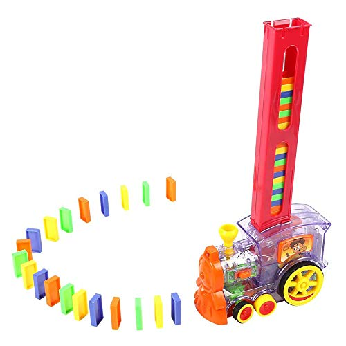 Cestbon Elektronische Domino-Zug Building Blocks pädagogisches Spielzeug Geburtstagskinder,Rot
