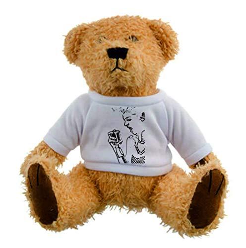 Druckerlebnis24 Teddybär - Karaoke Punk Bild Sänger - Plüschtier Kuscheltier Teddy in Braun Weihnachten