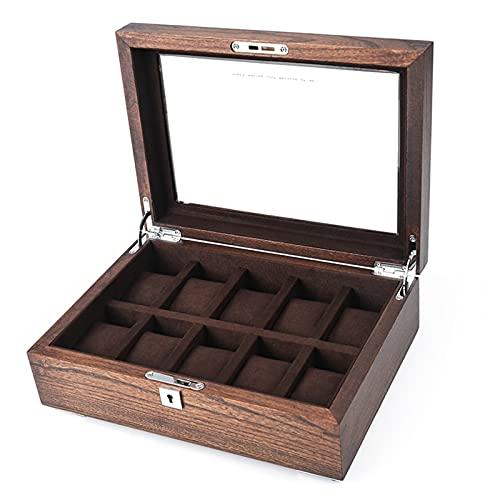 WZX Caja de Almacenamiento de colección de Relojes de Madera de Olmo de 10 Ranuras con Cerradura Caja de Almacenamiento de exhibición de Reloj Vintage(Color:B)