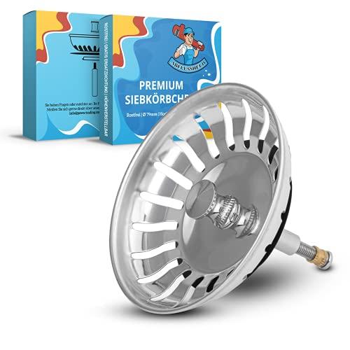 ABFLUSSHELD Siebkörbchen Spüle 79mm - Rostfreies Edelstahl Spülbecken Sieb - Spülensieb mit Stöpsel Funktion - auch für Blanco Spüle Ersatzteil - Abflusssieb Küchenspüle höhenverstellbar