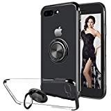 16Jessie Case Compatible with iPhone 8 Plus,Clear Slim TPU Bumper Magnetic Car Mount Case with 360° Ring Kickstand for Apple iPhone 7 Plus (Black, iPhone 7 Plus)