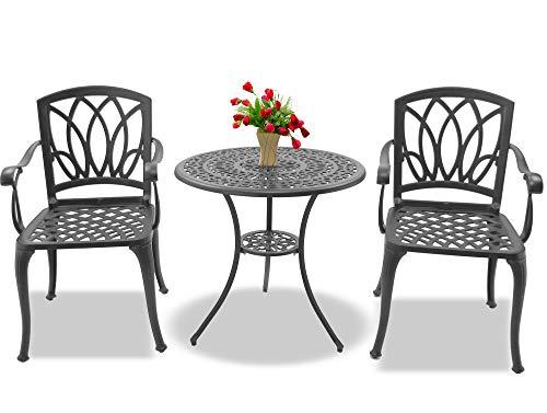 Centurion Support POSITANO - Juego de mesa de jardín y patio y 2 sillas grandes con reposabrazos, a