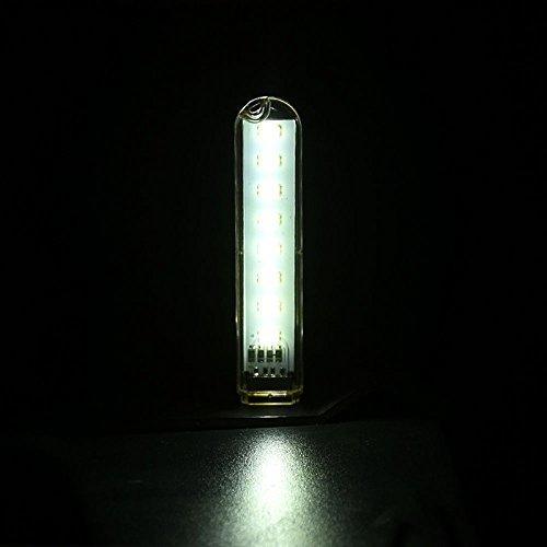 Rabusion New for Mini USB Power 8 LED Night Light Portable 5V Reading Lamp for Power Bank Computer Laptop White