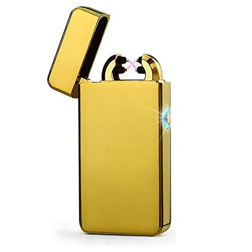 CHAOBEITE USB Elektronisches Feuerzeug Dual Lichtbogen Aufladbar Winddicht (Gold) Gold