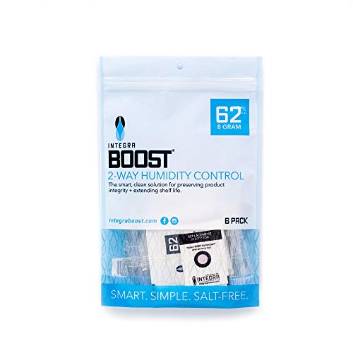 Integra Boost 62-Percent RH 2-Way Humidity Control, 8 Gram - 6 Pack ! New & Improved Product !