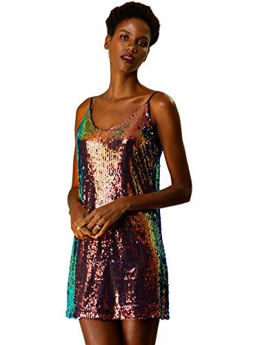 Allegra K Mini Vestido De Fiesta con Correa De Espagueti con Cuello En V Lentejuelas Purpurina para Mujer Azul Brillante XS