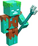 Minecraft Drowned Zombie 3.25' scale Video Game Authentic Action Figure with Accessory and Craft-a-block