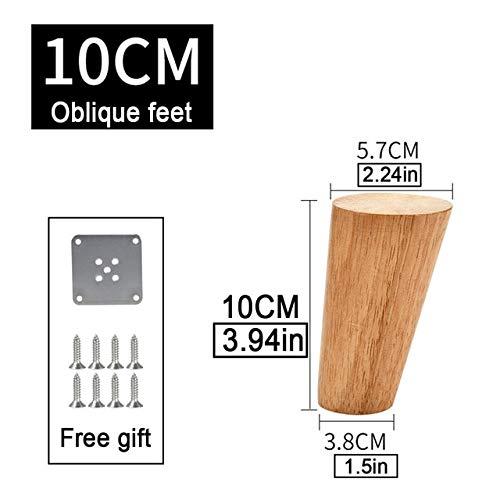 Patas de madera maciza patas de sofá cono con placa de hierro para mesa de sofá escritorio-China, pies oblicuos 10cm