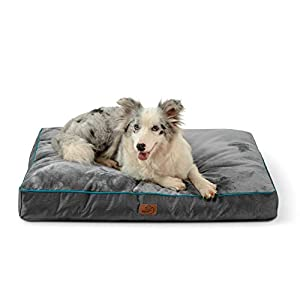 Bedsure Waterproof Dog Bed for Large Dogs with Removable Washable Cover and Waterproof Liner Up to 75lbs - Plush 4 inch Thick Fleece Top with Nonskid Bottom Pet Mat, Ideal for Crate or Kennel, Grey