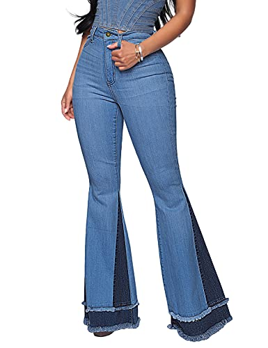 Utyful Women's Casual High Waist Stretchy Flare Denim Jeans Bell Bottom Pants Blue Large