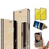 Jtailhne Compatible con Funda Vivo Y91, PU PC TranslúCido Flip Espejo Carcasa Ver Fecha/Hora, Despertar Inteligente, Plegable Soporte Case Oro+2X Cristal Templados