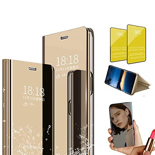 Jtailhne Compatible con Funda Sony Xperia 1, PU PC TranslúCido Flip Espejo Carcasa Ver Fecha/Hora, Despertar Inteligente, Plegable Soporte Case Oro+2X Cristal Templados