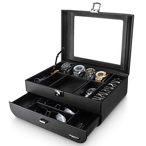 Seelux Caja para relojes, Organizador de Relojes para Hombre, Exhibición de Gafa, Porta Gafas y Joyas, 2 Capas Estuche Relojes, Bloqueable Negro