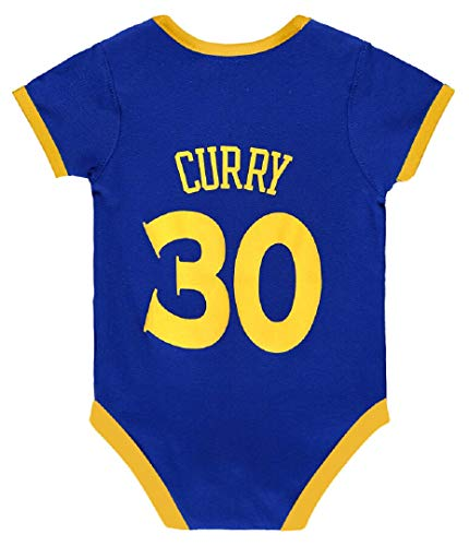 iSport Gifts Steph Curry Basketball Jersey Baby Infant & Toddler Onesies Rompers Pack of 2 Home & Away Jersey Design Bundle (Pack of 1, 3-6) Blue/White
