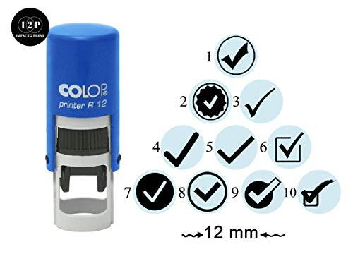 IMPACT2PRINT Segno Di Spunta Design Timbro In Gomma Autoinchiostrante Colop R-12 Mini Rotonda Scuola Stamper Stamper 12 mm