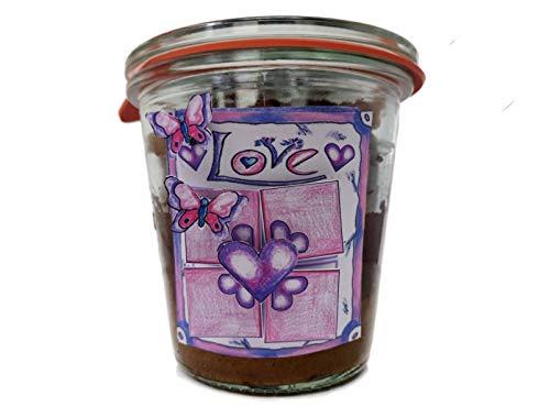 """Geschenk für Verliebte mit einem Tri-Color-Kuchen (Schoko/Mandel/Himbeere) und Geschenketikett """"Himmel&Hölle"""" (2011) im Glas gebacken"""