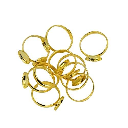 joyMerit 10 Stück Messing Verstellbar Flachring Findings Pad 10mm Lünette Cabochon Basen Rohlinge - Gold