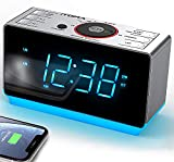 iTOMA Alarm Clock Radio with Bluetooth Wireless Speakers, Digital FM Radio, Dual Alarm with Snooze, Dimmer Control, USB Charging Output and Night Light (iTOMA CKS708)