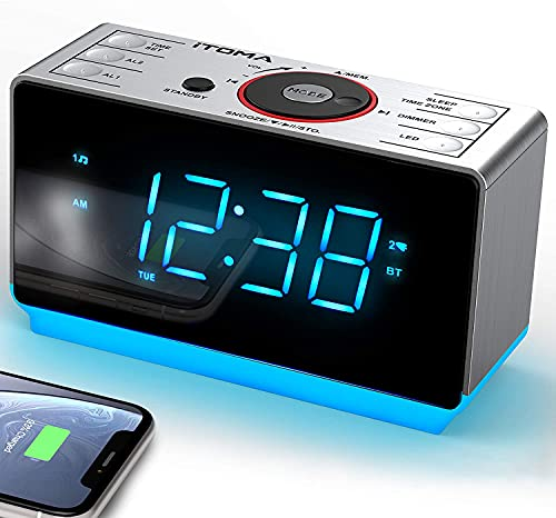 Alarm Clock Radio with Bluetooth Speaker, Digital FM Radio, Dual Alarm with Snooze, Dimmer Control, USB Charging Output and Night Light iTOMA CKS708