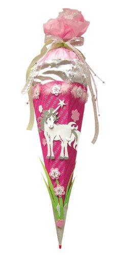 alles-meine.de GmbH BASTELSET Schultüte Einhorn 85 cm - 6 - eckig - mit Holzspitze Zuckertüte - Komplettset für Mädchen