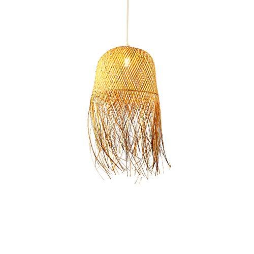 Lámpara de bambú, lámpara tejida a mano del sudeste asiático Lámpara de pasillo de restaurante Tatami Lámpara de techo de balcón Lámparas IKEA Lámpara de techo de salón de té japonés (E27)
