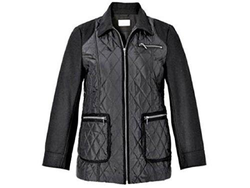 SHEEGO STYLE sheego Style Steppjacke mit Lederimitat schwarz Ideal für den Alltag