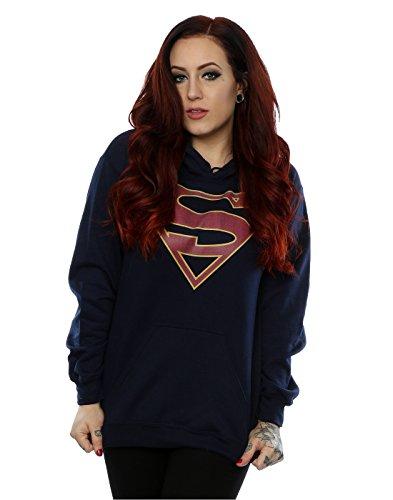 DC Comics mujer Supergirl Logo Capucha X-Large marino oscuro