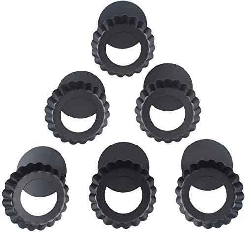 10cm Klein Tarteform mit Hebeboden Mini Tartelette Förmchen Gute Antihaftbeschichtung Tarte Backform Set von 6-Black