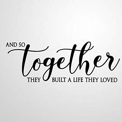 Calcomanías de pared con cita «Together Built A Life They Loved», rústica, para decoración del hogar, sala de estar, dormitorio, guardería