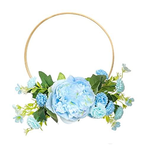 Bamboe Ring Kunstmatige Pioenroos Bloem Krans Handgemaakte Bloemen Kransen Garland voor Voordeur Muur Bruiloft Boerderij…