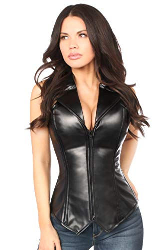 Daisy corsets Women's Plus Size Top Drawer Faux Leather Collared Steel Boned Corset, Black, 2X