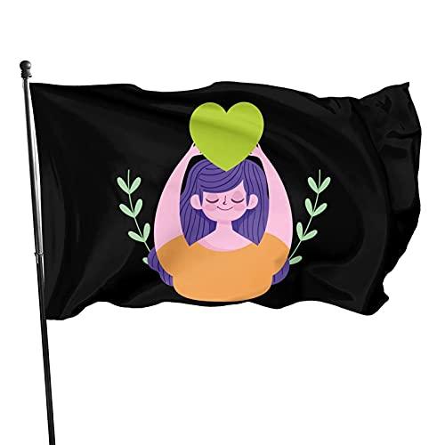 DRXX Día Mundial de la Salud Mental Mujer Joven de Dibujos Animados con corazón Verde Bandera Decorativa para Exteriores de 3 x 5 pies, fácil de Instalar, Duradera y de Colores sólidos