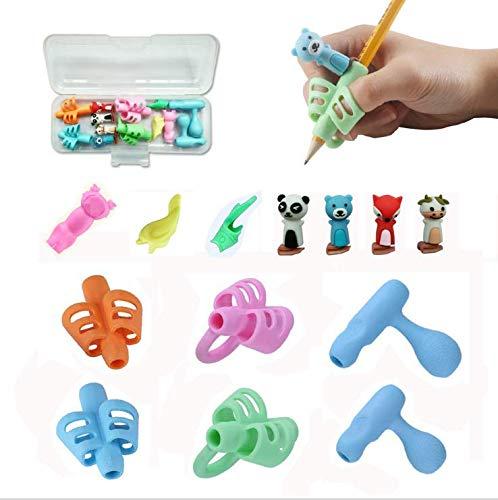 Pencil Grips Ergonomic Finger Gripper Children Handwriting Aid Posture Correction Children Pencil Holder Writing Aid Grip Trainer Assorted 13pcs (Assorted Color)