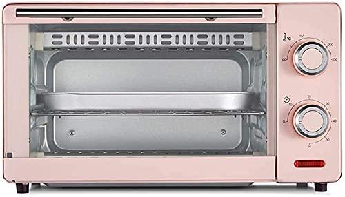 Práctico Hogar 11L Horno Eléctrico, Mini Horno Horno de Banco 1000W 60 Minutos Temporizador Doble Parrilla Incluye Bandeja de Escoria Separada 8 Alitas de Pollo, Pastel de Gasa de 8 Pulgadas, Color: