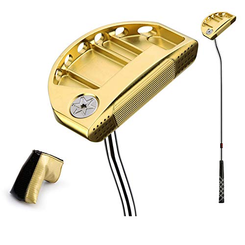 KXDLR Golfclubs Golfputter 34-inch stalen as met golf headcover, goud