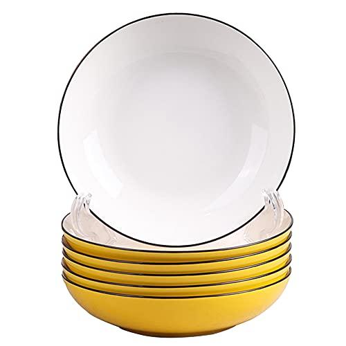 ELLENS Plato de Porcelana de 8 Pulgadas, Elegante Plato de Aperitivo para la Cena, Platos de cerámica pequeños y exquisitos para Postre, Ensalada, Aperitivos (Juego de 6)