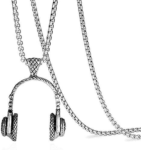 Collar Hombre S Acero inoxidable Auriculares Colgante Collar Hip Hop Heavy Metal Suéter largo decorativo Collar de cadena para mujeres Hombres Regalos Collar colgante Regalo para mujeres Hombres Niñas
