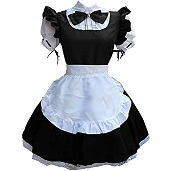 LOVESOO Womens Anime Cosplay Cat Ear French Apron Maid Fancy Dress Short Sleeve Lolita Outfits Clubwear Maid Costume Black