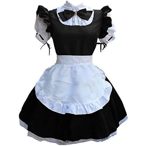 XIAOYUER Damen French Maid Costume Dress kostüm Sexy Lolita Kleid Cosplay Uniform Maid Cosplay Kostüm Frauen Kopfbedeckung Schürze Fake Collar Bowknot Kleid Schwarz Blau Braun Lila S M L XL XXL XXXL