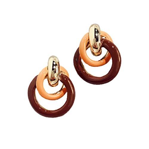 EMFGJ Pendientes bohemios coloridos con nudo irregular, clásicos trenzados, regalo de boda para mujeres y niñas, naranja + rojo vino