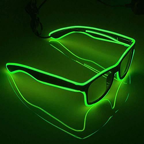 ZEERKEER Leuchtbrille Sonnenbrille leuchtbrillen Party Club LED Blinkende Brille Rollenspiele, Halloween, Weihnachten, Maskerade, Karneval und Maskerade (Standard) (Grün)