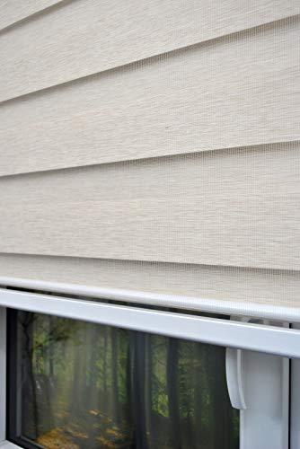 kskeskin Doppelrollo 180 cm breit 250 cm lang Duo Rollo Farbe beige mit breiter Beschwerung geschlossener Kassette Kettenzug Alternative zu Gardine oder Plissee Duo Rollo