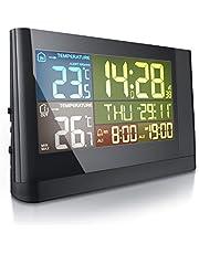 CSL – trådlös väderstation med färgdisplay och LED – inklusive yttesensor – DCF mottagningssignal – inner- och utetemperatur – LCD display