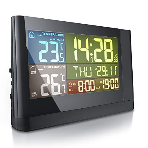 CSL - Funk Wetterstation mit Farbdisplay und LED - DCF Funksignal - inkl. Außensensor - Innen- und Außentemperatur - LCD-Display