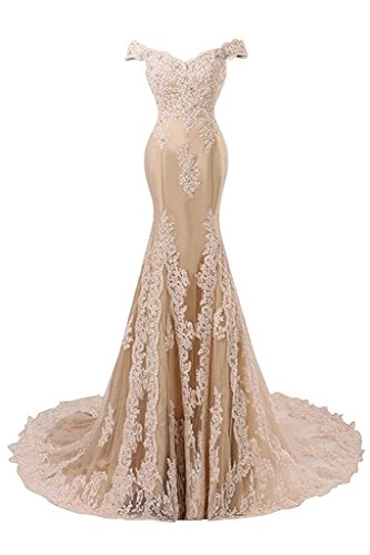 JAEDEN Ballkleider Abendkleider Meerjungfrau Lang Hochzeitskleider Schulterfrei Satin mit Schleppe Champagner EUR42