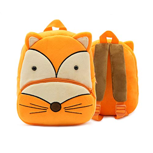 Ladyzone Toddler Backpack Zoo Animals Backpacks Cute Plush Bag Cartoon 10' Preschool Book Bag For 1-6 Years Girls Boys (Fox)