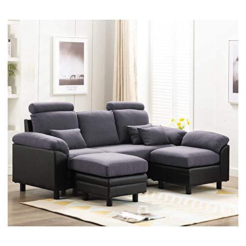 X-LSWAB Convertible Sofá seccional Moderno sofá Tela de Lino en Forma de L sofá sofá de 3 plazas Chaise Reversible con el sofá con otomana y 3 Recepción Almohadas Espacio for Estar Dormitorio Oficina