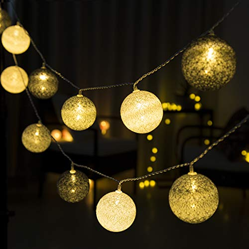 GIGALUMI String Lights Ball 20 LED Warm White Ø 6 cm Cotton Ball String Lights Decoration for Baby Bedroom, Party, Christmas, Wedding