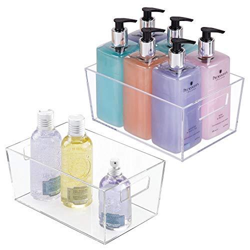 mDesign Set da 4 contenitori per il bagno – Organizer per il bagno di plastica per asciugamani, prodotti bagno e molto altro ancora – Pratico cesto per il bagno con manici integrati – trasparente