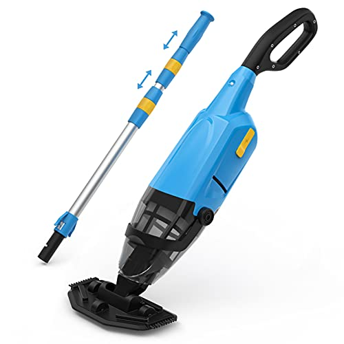 """Handheld Pool Vacuum Rechargeable, IPX8 Waterproof, 6000 mAH for 60 mins Work Time, Pool Cleaner with 69"""" Extendable Pole, Ideal for Hot Tub, Spa, Small In-Ground/Above Ground Pool"""
